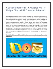 Gladwev's OLM to PST Converter Pro - A Unique OLM to PST Converter Software.pdf