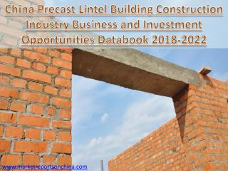 China Precast Lintel Building Construction Industry Business and Investment Opportunities Databook 2018-2022.PDF